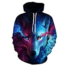 QJH Lion Painting Galaxy Print Sweatshirt Unisex Realistic 3D Digital Hooded Hoodie