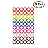 Colorful Iron O-rings & Stitch Ring Markers for knitting/crochet/etc, (Available in 14 sizes, Includes 10 colors, for knitting/crochet/etc (Medium (Internal diameter 15mm), 60pcs)
