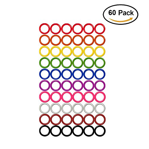 Colorful Iron O-rings & Stitch Ring Markers for knitting/crochet/etc, (Available in 14 sizes, Includes 10 colors, for knitting/crochet/etc (Medium (Internal diameter 15mm), 60pcs) by ZH