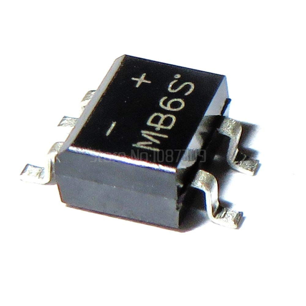 IndustrialField 20pcs MB6S SOP-4 0.5A 600V Single Phases Diode Rectifier Bridge