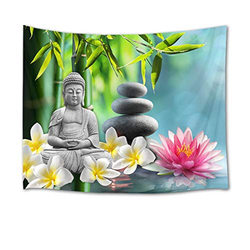 (HVEST Zen Meditation Tapestry Blooming Orchid and Lotus on Spa Water in Bamboo Forest Wall Hanging Buddha Tapestries for Bedroom Living Room Dorm Decor,60Wx40H)