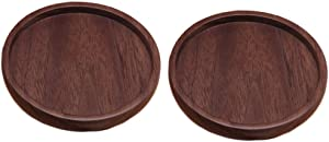 ConStore 2pcs Wooden Coasters for Drinks with Lip Natural Wood Solid Holder Wood Round Cup Mat for Furniture Protection (Black Walnut)