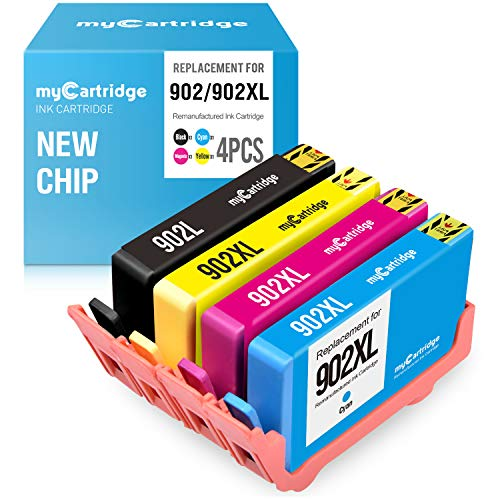 (myCartridge Remanufactured Ink Cartridge Replacement for HP 902 Upgraded Newest Chips (Black Cyan Magenta Yellow, 4-Pack) OfficeJet Pro 6968 6978 6958 6970 6960 6954 6962 Printer )