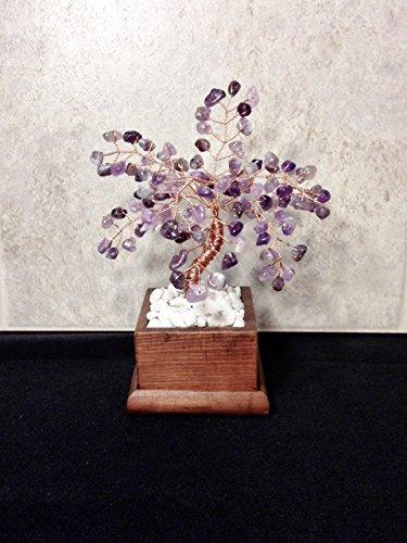 Amethyst Crystal Gemstone Bonsai Tree Of Life,Feng Shui,Wire Art Decor,Healing Gemstone Wire Tree Sculpture In Wood Pot,February Birthstone ()