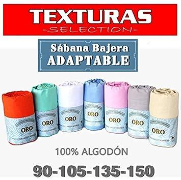 Sábana Bajera Ajustable 100% Algodón TEXTURAS ORO Cama 150 (AZUL): Amazon.es: Hogar