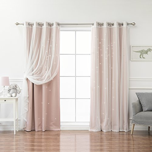 - Best Home Fashion Mix & Match Tulle & Star Cut Out Blackout Curtains - Dustypink - 52