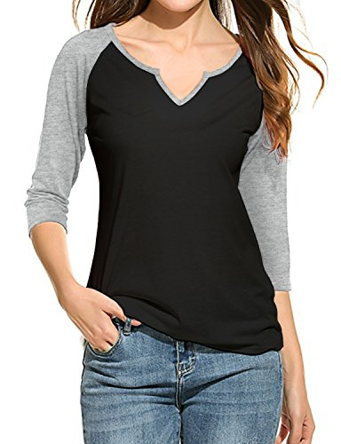 REGNA X Love Coated womens long color block 3/4 sleeve baseball T-shirts 17703_black/Light Gray Medium