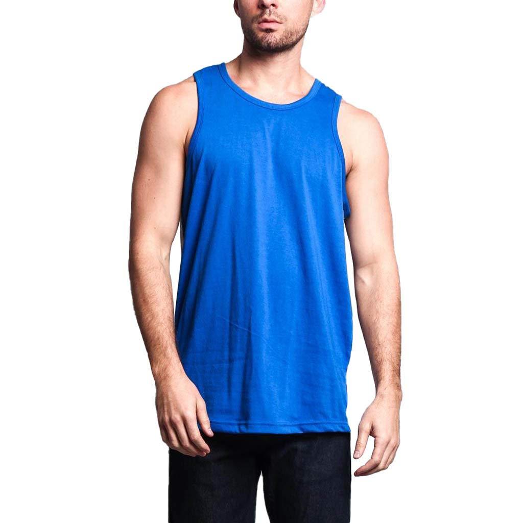 Giulot Men Big & Tall Sleeveless Tank Tops Classic Basic Solid Comfortable Vest for Sports Shrink-Less Lightweight Shirt Blue
