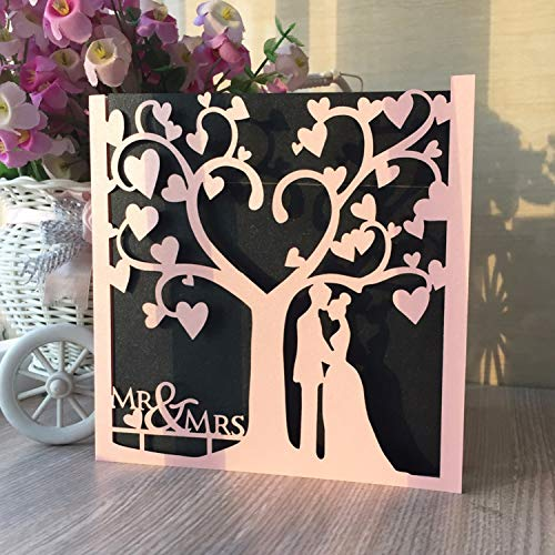 OUOK 50pcs Laser Card Love Tree with Couple