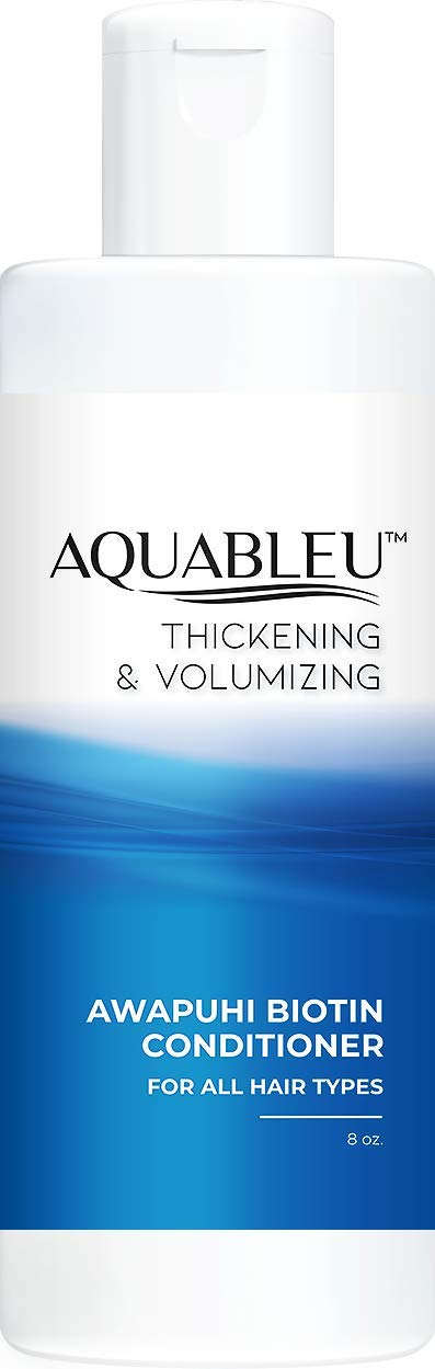 Aquableu Biotin Conditioner - For Hair Growth - Infused with coconut, keratin, Argan & Jojoba oil - Awapuhi fragrance - Sulfate & Paraben Free - For color treated hair - For Men & Women 8oz