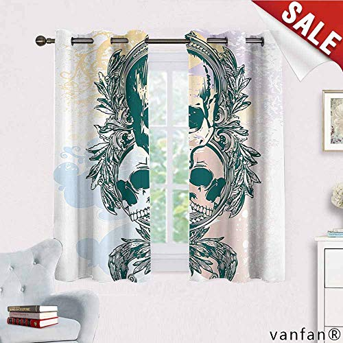 Big datastore Skull Curtain Set for Living Room,Scary Deadly Rocker Skeleton Head Trio with Frames from Leaves Image Curtain Liners for Drapes Blackout,Emerald Lilac Light Yellow W72 x L45