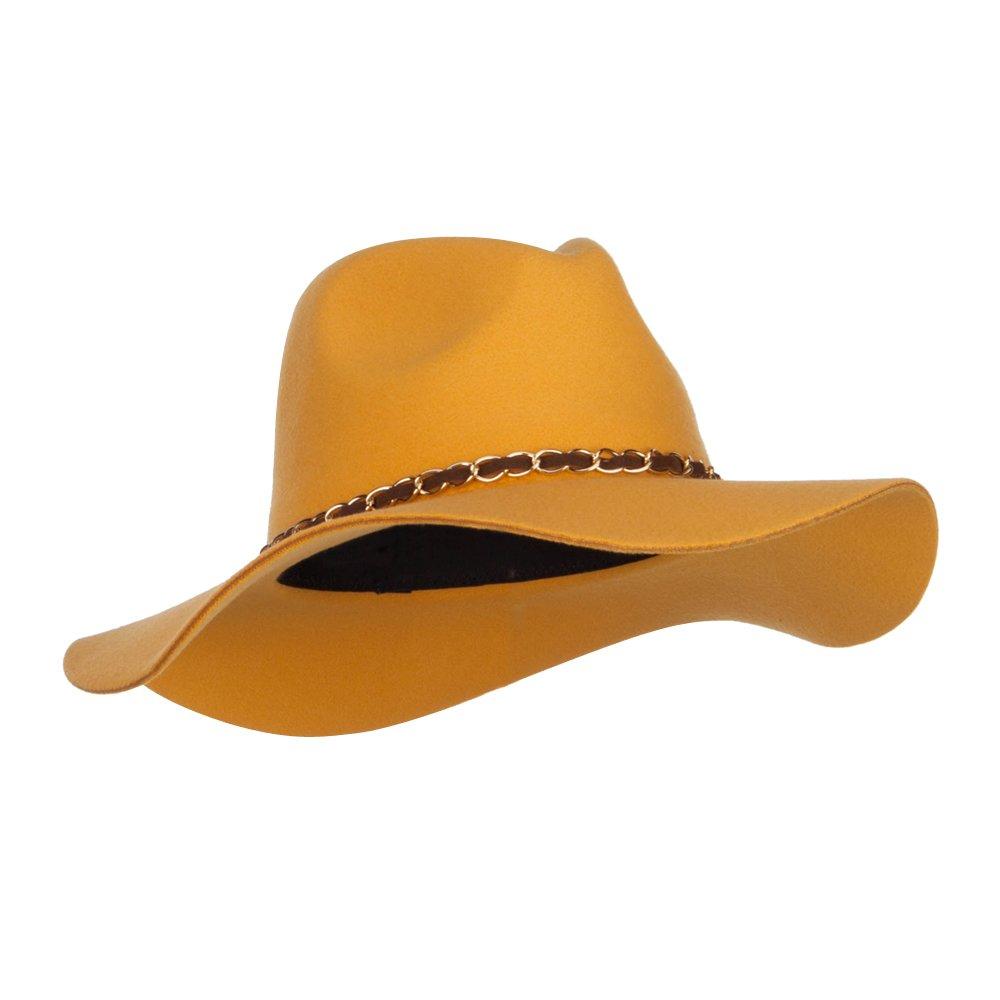 Faux Felt Chain Band Panama Hat