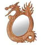 NOVICA Animal Themed Wood Wall Mounted Mirror, Brown 'Dragon Reflection'