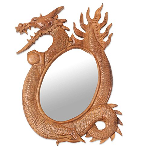 NOVICA Animal Themed Wood Wall Mounted Mirror, Brown 'Dragon Reflection' by NOVICA