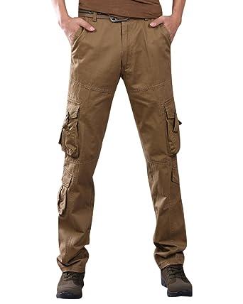 08f6678c117 Anyu Hombre Pantalones Cargo Multi Bolsillos Pantalone Recto Pantalón  Militares Caqui 34  Amazon.es  Ropa y accesorios