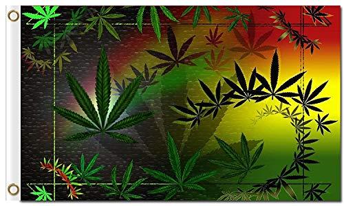 (SINONARUI Vivid Color Psychedelic Plain Leaf Marijuana Premium 3x5 ft Polyester Flag with Brass Grommets)