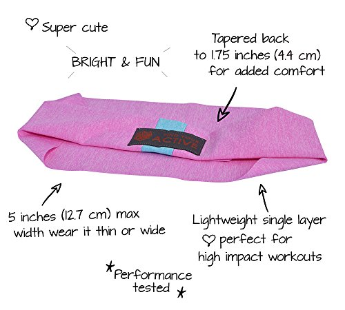 Red Dust Active Lightweight Sports Headband - Moisture Wicking Pink Sweatband - Ideal for Running, Cycling, Hot Yoga and Athletic Workouts - Designed for Women Borrowed by Men by Red Dust Active (Image #2)