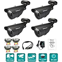 iSmart 4-pack Black 800TVL Color Heavy Duty Surveillance CCTV Camera Security System Kit, 4.6mm Lens 42 IR Leds, C1011DP8