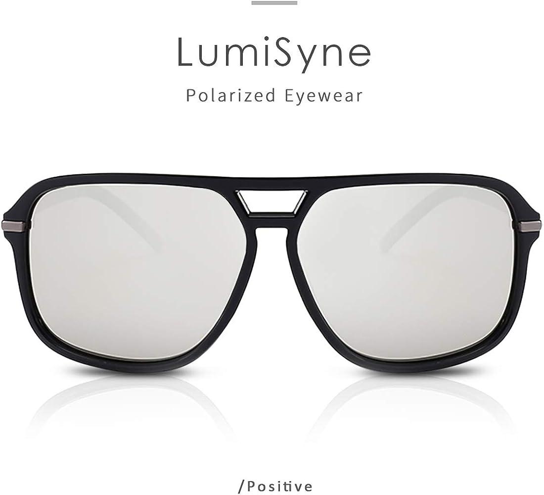 LumiSyne Moda Occhiali Da Sole Polarizzati Uomo Occhiali Da Sole Guida Ultra Leggero Montatura Quadrata Doppio Ponte UV 400 AllAperto Viaggio Sport Regalo