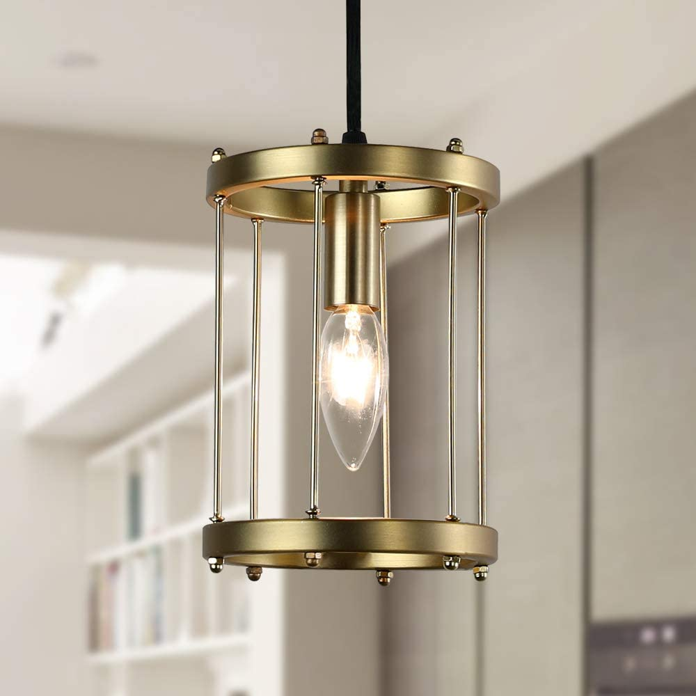 Wood and Metal Chandelier Square 1-Light Adjustable Height Ceiling Pendant Light Dining Room Lighting Fixtures Hanging,Living Room Light ,Kitchen Chandelier UL Listed