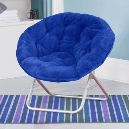 Mainstays Faux-Fur Saucer Chair, with Foldable steel frame, 100 polyester faux-fur fabric, Great for lounging, dorms or any room in Multiple Colors Blue