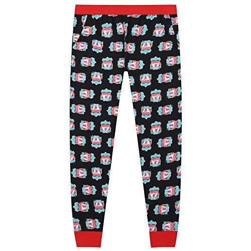 Liverpool FC Official Football Gift Mens Lounge Pants Pyjama Bottoms Black Large