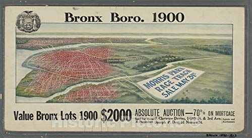 - Historic 1913 Map | [Panoramic views of the Bronx: real estate auctions].of New York City and State | Bronx | Vintage Wall Art | 67in x 36in