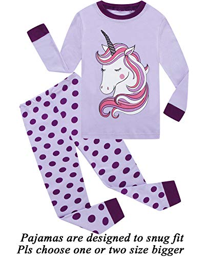 Little Girls Pajamas 100% Cotton Long Sleeve Pjs Toddler Clothes Kids Sleepwear Shirts 7T by Little Cat (Image #1)
