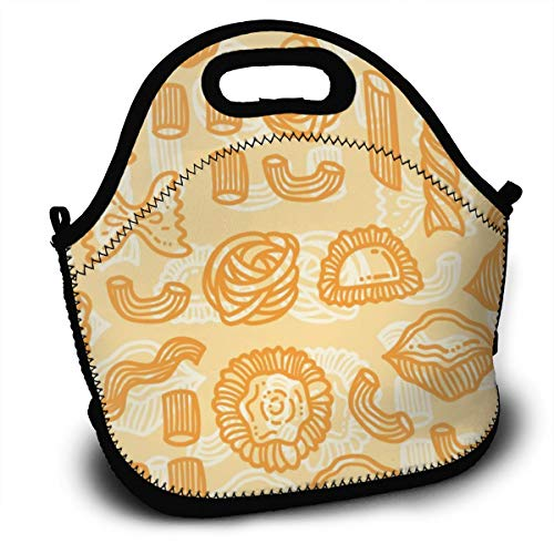 Dejup Lunch Bag Orange Food Pattern Tote Reusable Insulated Lunchbox, Shoulder Strap with Zipper for Kids, Boys, Girls, Women and Men]()