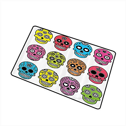 Welcome Door mat Skulls Decorations Collection Ornate Colorful Traditional Mexian Halloween Skull Icons Dead Humor Folk Art Print W16 xL20 Hard and wear Resistant Multi -