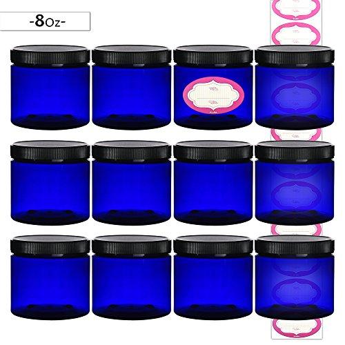 DilaBee 12-Pack 8 Ounce Plastic Cobalt Blue Refillable Slime/Cosmetic Jars with Lids and Labels, Round Containers For Beauty Products, Cream, Exfoliating Scrub, Face Masks and Lotion