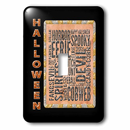 3dRose Beverly Turner Halloween Design - Halloween Words, Haunt, Spooky, Cobweb, Eyeball, Fangs, Witch, Eerie - Light Switch Covers - single toggle switch (lsp_254442_1) -