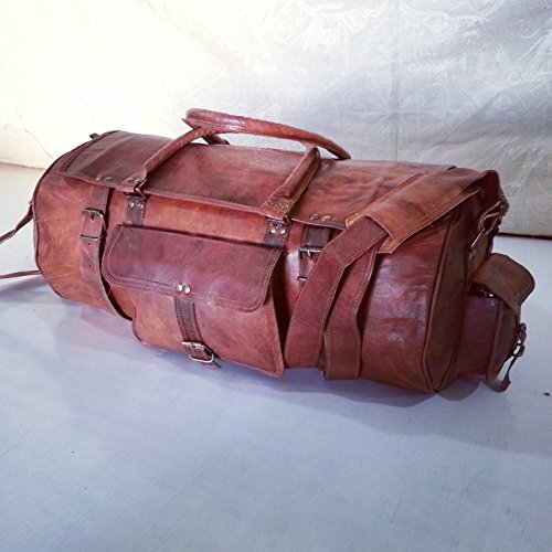 Real leather handmade travel luggage vintage overnight weekend gym duffel bag by thehandicraftworld