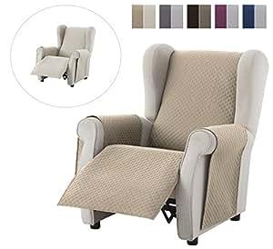 textil-home Funda Cubre Sillón Relax Adele, Tamaño 1 Plaza -Protecto Sofá Acolchado Reversible. Color Beige