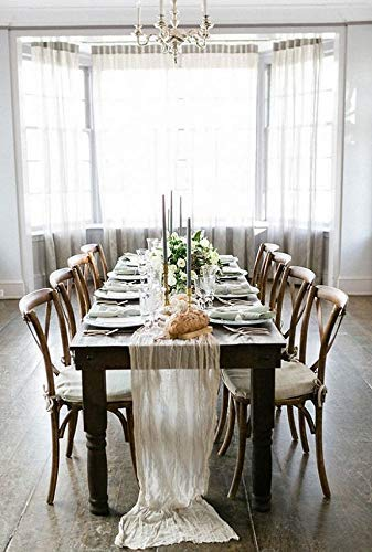 Wedding Table runner Cheesecloth Muslin Cheese cloth table Décor wedding Rustic Wedding Arbor Decor Cotton Table Runner For Wedding Banquet Decoration Boho Farmhouse Shabby Chic Country Rustic - Cream ()