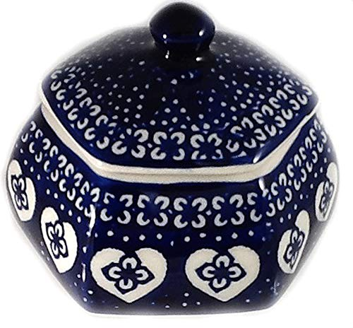 (Polish Pottery Trinket Ring or Jewelry Box in The DSS Nordic Hearts Pattern - Blue and White - Valentine)