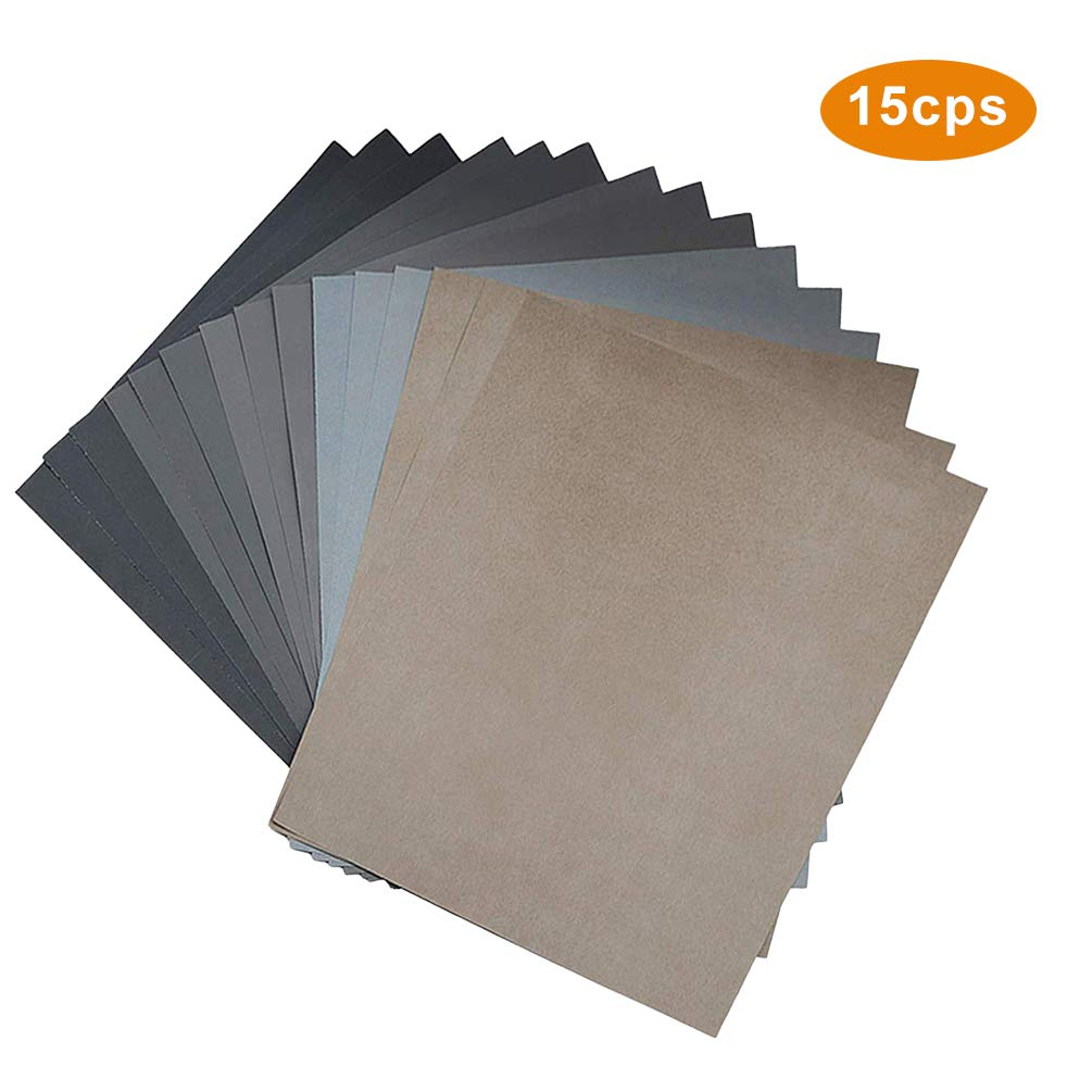 15Pcs Wet Dry Sandpaper Polishing for Wood Antiques Agate High Grit Assorted 9 * 11 Inch High Precision Sanding Paper Included 1000 2000 2500 3000 5000 Grits