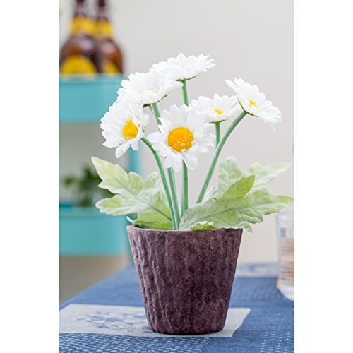 Potted Artificial White Silk Gerbera Daisy