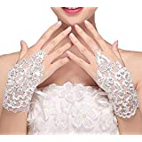 M Bridal Women's Crystals Lace Fingerless Gloves for Wedding Party Brides Accessory G01 (White)