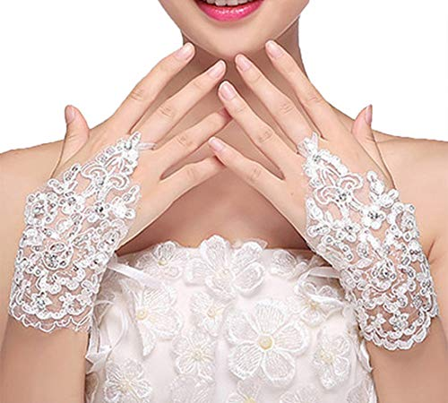 M Bridal Womens Crystals Lace Fingerless Gloves for Wedding Party Brides Accessory G01 (White)
