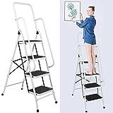 Benlet 4-Step Folding Step Ladder with Handrails, 330LBS Anti-Slip Ultra Light Aluminum Stool Ladder, Work Platform Stool for Home, Kitchen Or Garage