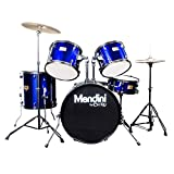 Mendini by Cecilio 5-Piece Full Size 22-inch Drum Set + Cymbals, Drumsticks and Throne, Blue