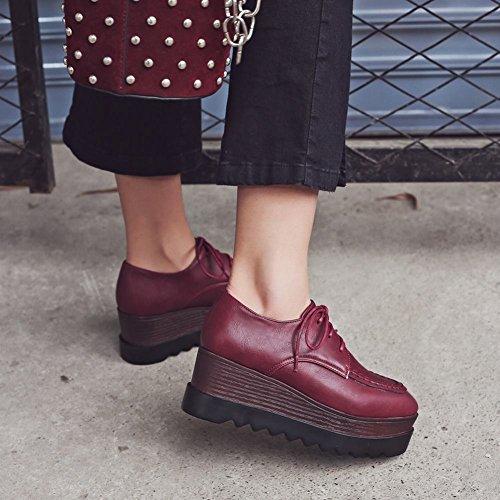 Latasa Womens Platform Lace-up Oxford Wedges Shoes Dark Red 3QPxnda