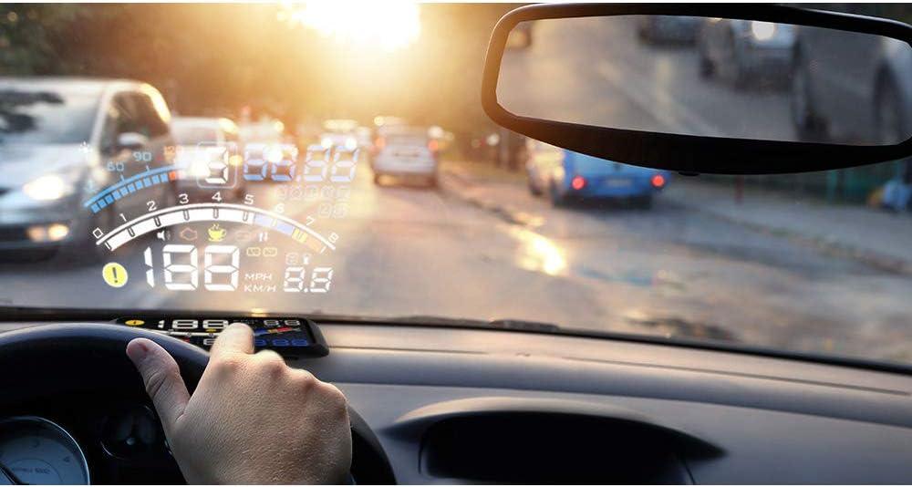 XH Indicateur de Vitesse num/érique Intelligent de Compteur de Vitesse de Voiture de projecteur de Pare-Brise HUD Affichage t/ête Haute HD 5,5 Pouces Gadget daide /à la Conduite Alarme de survitesse