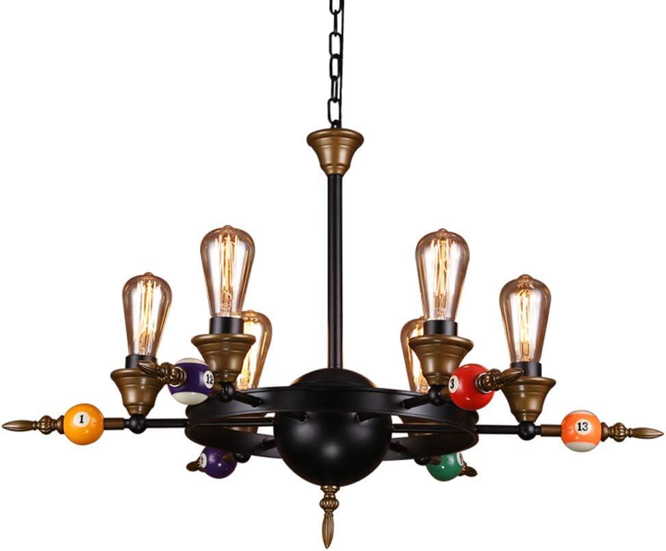 LW Retro Industrial Six Heads Billiards Iron Art Lámpara Colgante Araña, Restaurante Sala de Estar Bar Club Sala de Billar - Iluminación Creativa, Negro, E27 * 6: Amazon.es: Hogar