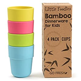 Go Fresh Bamboo Kids Cups, Set of 4 Kids Cups, Bamboo Drinking Cups, Bamboo Kids Dinnerware Set, Bamboo Toddler Cups Without lids, Kids Bamboo Cups for Everyday use