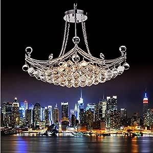 GOWE New Crystal Chandelier Lighting Fixture Crystal Lustre Lamp Lampshade Color:sliver
