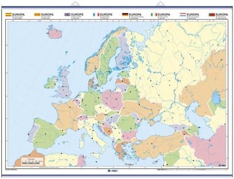 Europa, físico / político. A todo color: Mapas Murales Mudos ...