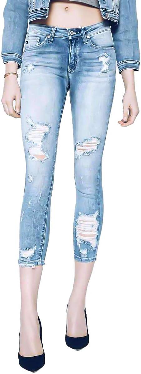 Kancan Jeans Women's Five Pocket High Waist Distressed Denim Jean - KC8373