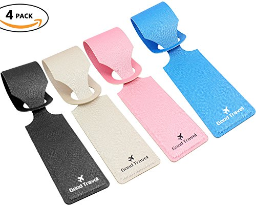 Cruise Baggage Tags - Identifiers Labels For Luggage Suitcases Bags - Strip PU Travel Tag Set 4 Pack